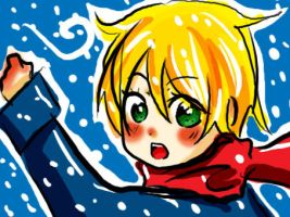 Usagi runing in the snow by lamascotadeldemonio