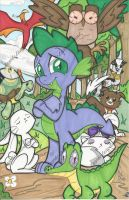 Spike and Pets Print by PonyGoddess