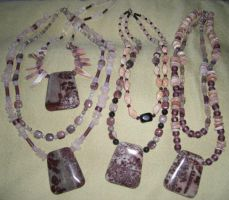 4 PinksRoseBurgandy Necklaces by DAnnsCreations