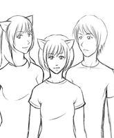 Neko Sugar Girls lineart by paronomasial