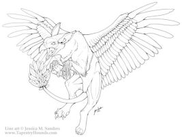 Griffin Lineart by sighthoundlady