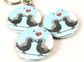 Kissy Crow Buttons by BeeZee-Art