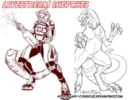 August Livestream Sketch Commissions 5 by lady-cybercat