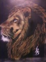 Lion Head Pic Airbrushed by lrayjus21