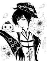 OC_ Jun in Black and White by SinEngraved