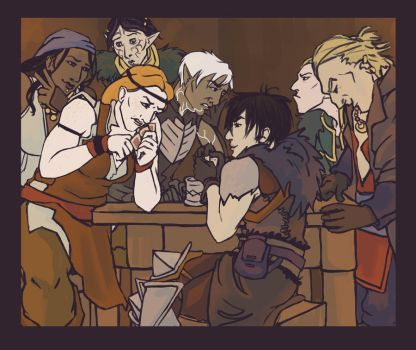 Card Night at the Hanged Man by sckry