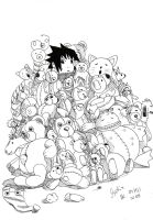 Sasuke with stuffed animals by TheSpecialMangaArt