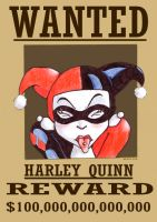 Harley Quinn Wanted Poster by brygz