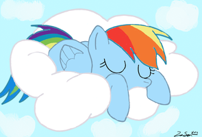 :AT: Rainbow Dash Sleepin In The Clouds by iamthemanwithglasses