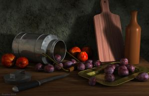 A tray with plums by slepalex