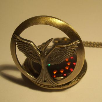 Soaring bird bronze LED pocket watch by ScatterbrainEmp
