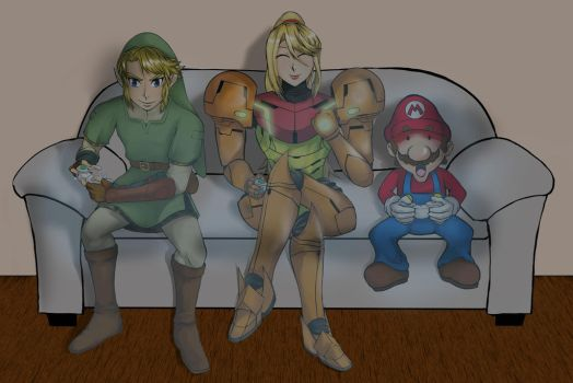 Commission: Mario, Samus, and Link by DeathNapalm