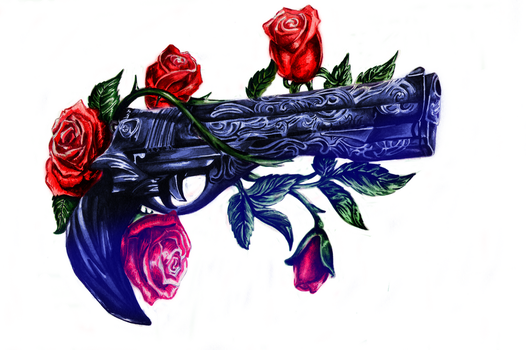 Gunz with Roses / Ebony by AnnaPostal666