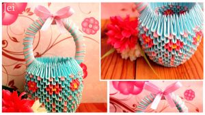 Origami Basket - Cotton candy by J-e-i