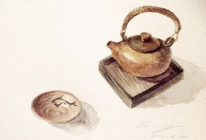 teapot and little cup by ladysherry