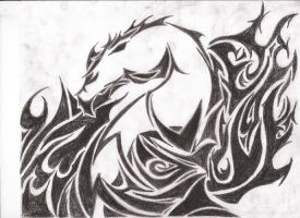 Tribal Dragon and Flames by Juggalette Tattoo Designs