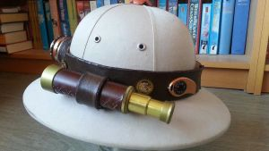 Left side of steampunk explorers helmet by Firefly182