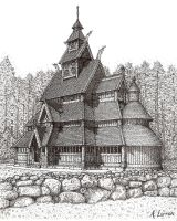 Wooden Stave-Church by Fallenangel5772