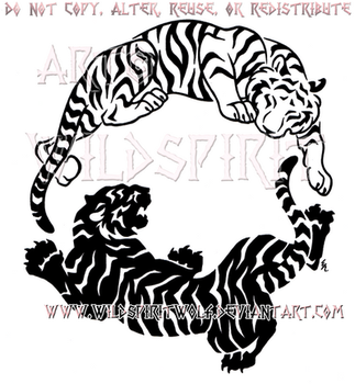 Peace And Fury Yin Yang Tiger Design by WildSpiritWolf