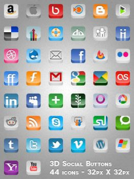 3D Social Buttons by MAUXWEBMASTER
