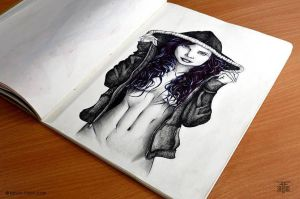 Caprice Little - Ink Pen Portrait by KevinFiloniArt