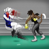 Antares and Deborah - sparring. by Drawing-4Ever