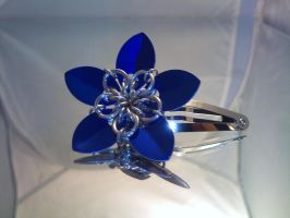 Blue Scale Flower Hair Clip by Mommy-of-Monsters