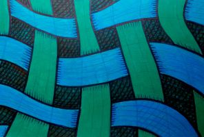 blue green textile by santosam81