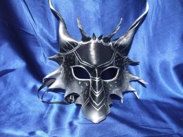 Black and Silver Metallic Dragon Mask by Jedi-With-Wings
