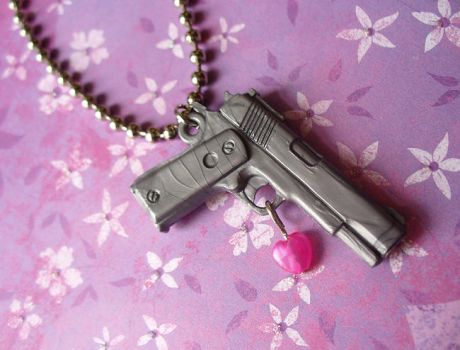 Armed Robbery Necklace by paperdolldreams