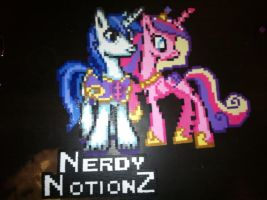 Princess Cadence and Shining Armor perler by ZanderYurami