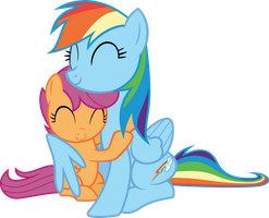 Rainbow Dash Scootaloo hugging by TimeLordOmega