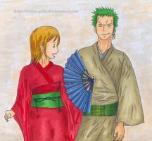 Nami and Zoro. by VeIra-girl
