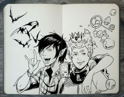 #249 Marshall Lee and Prince Gumball by 365-DaysOfDoodles