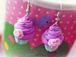 Pastel Bubblegum Cupacake Earrings by Cateaclysmic