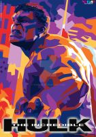 THE INCREDIBLE HULK ON FULL COLOUR OF WPAP by YUHEND