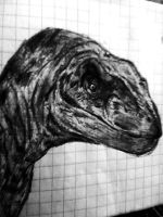 Raptor sketch on a notebook by RedKronos92