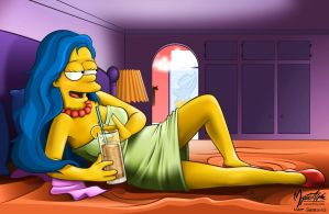 Marge with an iced tea by mysticalpha