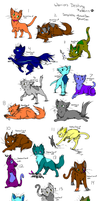 ( some are  FREE )1 point adoptable worrior cats! by FrankinPoodle