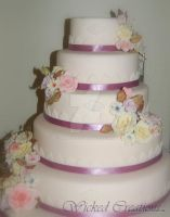 Antique Rose 5 tier wedding cake by JanJL
