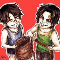 Luffy and Ace by Mafkin