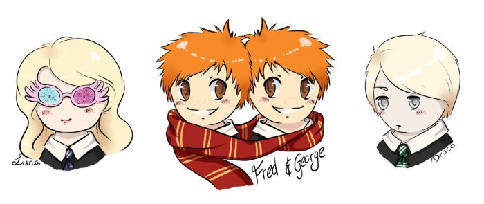 Harry Potter Chibis [Fred,George // Luna // Draco] by yumiomiru