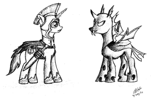 Scipius and the Changeling by ArtOfCanterlot