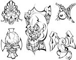 Skulls and Mo Tattoo Flash by BeeJayDeL