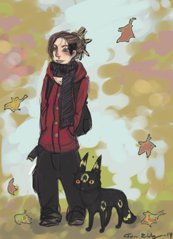 Autumn Day With Monsters by silfverpaw