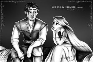 Eugene and Rapunzel-Completed art by areemus