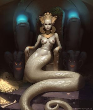 Snakewoman on a throne by Andromonoid