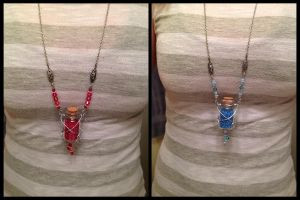 Full-Length Health and Mana Potion Necklaces by NikidaEve
