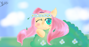[AT] Fluttershy wearing a Flowercrown  by MrsCurlyStyles