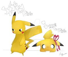 Sparky and Summer the Pikachu by KitsuneNight